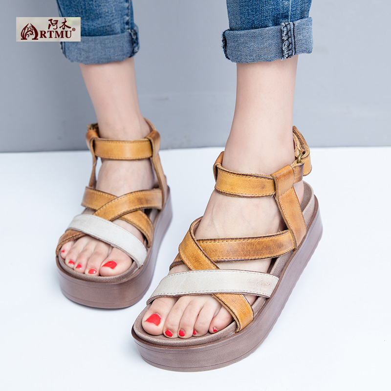 Original 2017 New Summer Genuine Leather Sandals Simple Handmade Mixed Colors Platform Women Shoes T2216-7