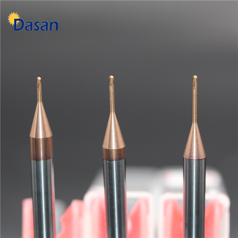 1pc Radius 0.25 0.3 0.4 0.5 1mm 2mm Ball Nose Long Neck End Mill Tungsten Carbide Deep Groove Milling Cutter Engraving Machine