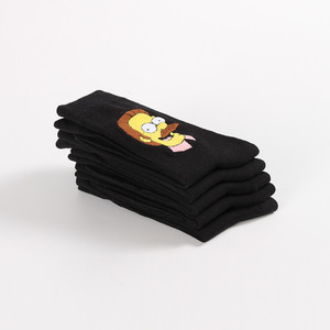 Image 2 - 10 Pairs/Pack Simpson family Funny Happy Cotton Couple Lovers Socks Black Mid High Cute Socks for Men and Women Socks College