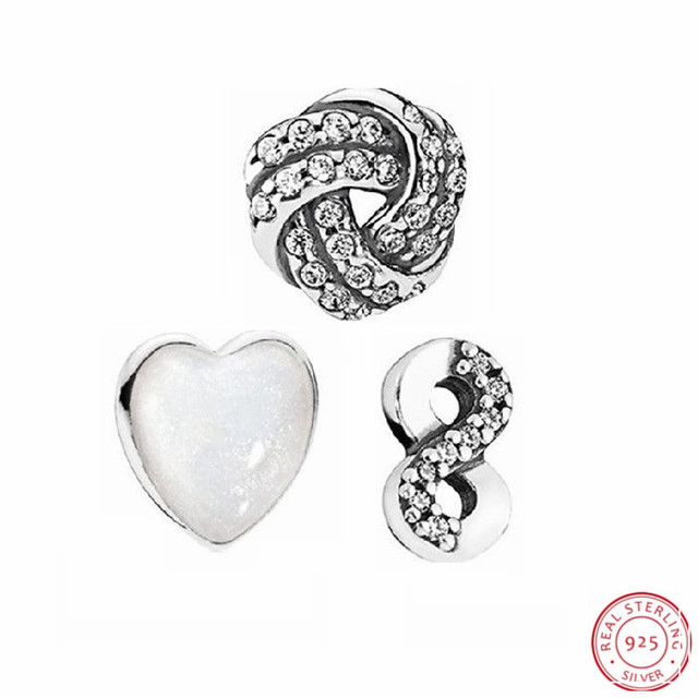 3d268a71c Sparkling Love knot @ Pearlescent Heart & Infinite Love Beads DIY Fit Pandora  Floating Locket Charms Silver 925 Origina FLS011