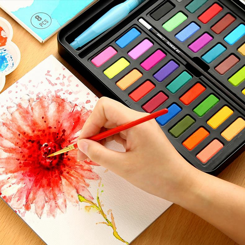 36 Colors Solid Water Color Paint Set With Water Brush Pen Portable Watercolor Pigment For Drawing Professional Art Supplies