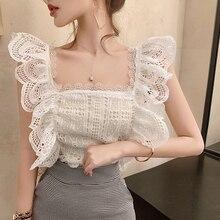Blusa de renda oco para mulheres, camisa branca sem mangas sensual com babado, camisa de renda, verão, 2020