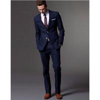 Custom Made Dark Blue Men Suit Groomsman Mens Wedding Suits Light Navy Blue Wedding Suits For