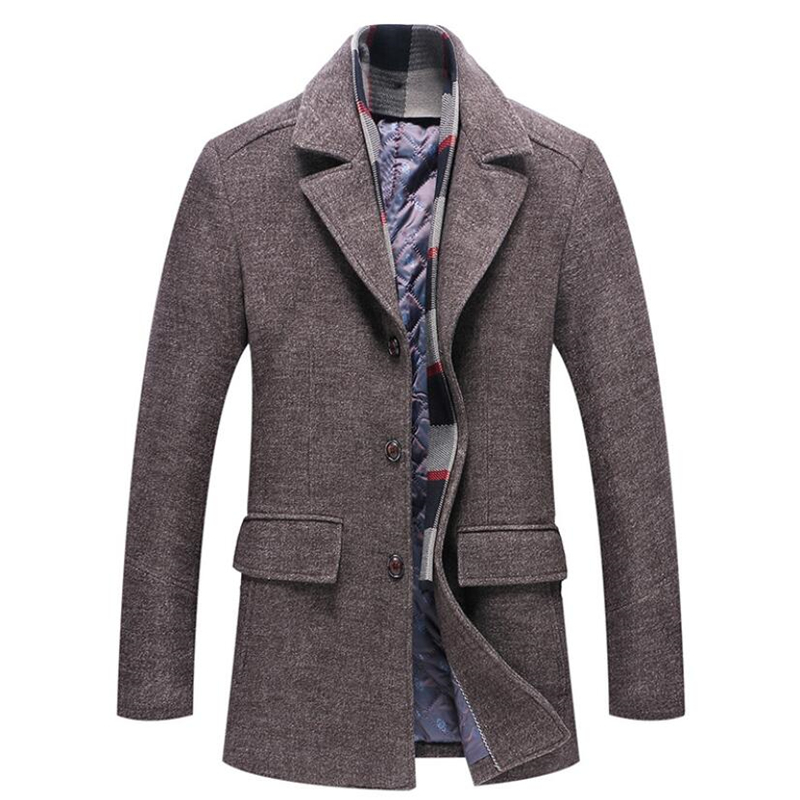 Coat Men Windbreaker Long-Jacket Business-Trench Woolen Male Thick Winter Casual Warm