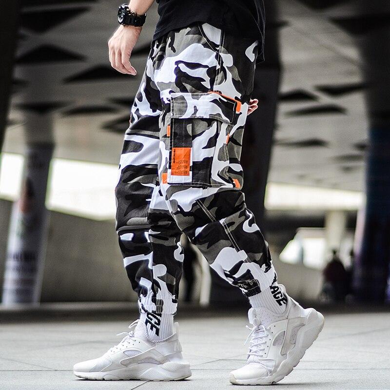 Cargo Camouflage Pants Hip Hop Black Pants Mens Cargo Harem Pant Streetwear Harajuku Jogger Sweatpant Cotton Trouser