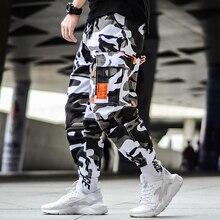 מטען הסוואה מכנסיים היפ הופ שחור מכנסיים Mens מטענים הרמון מכנסיים Streetwear Harajuku Jogger Sweatpant כותנה מכנסייםמכנסי סקיני