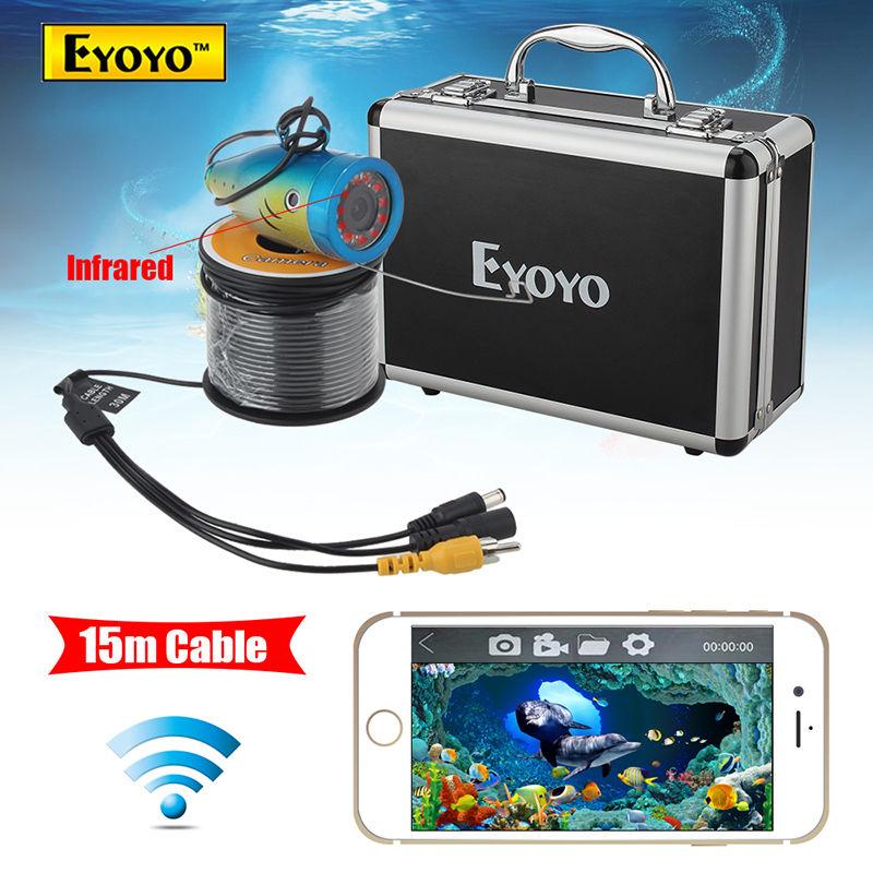 цены  Eyoyo WF01 15M 2.4G WIFI Wireless Fish Finder IR Underwater Fishing Camera Ocean/Ice Free shipping