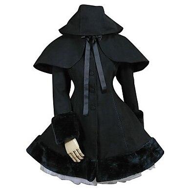 Noir Solide À Long Gothique Classique/Traditionnel Lolita Robe Princesse Vintage Inspiré Élégant Victorienne Rococo Cosplay