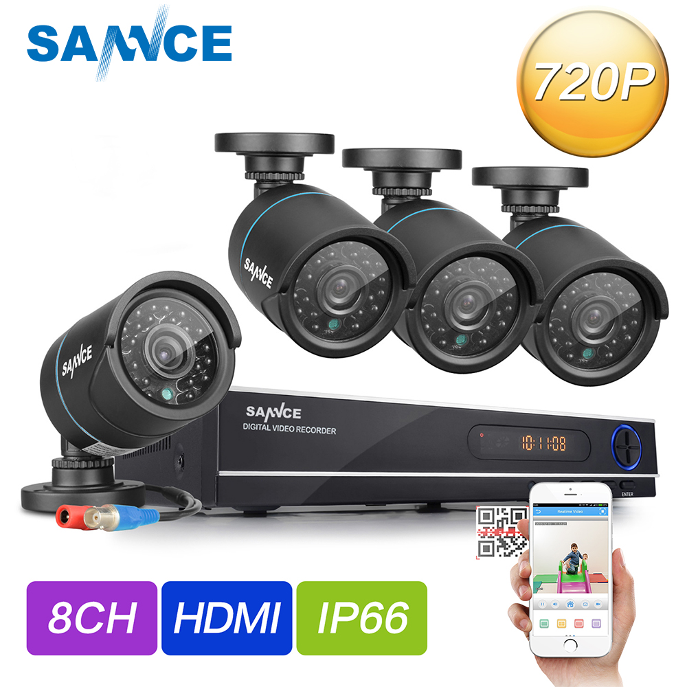 SANNCE HD 720P CCTV Camera System 8CH 1080P HDMI DVR Kit outdoor home Security Camara IR Night Vision 720P Surveillance Kits sannce hd 8ch 1080n 720p cctv system hdmi ahd dvr 4pcs 1200tvl ir outdoor night vision security camera video surveillance kit
