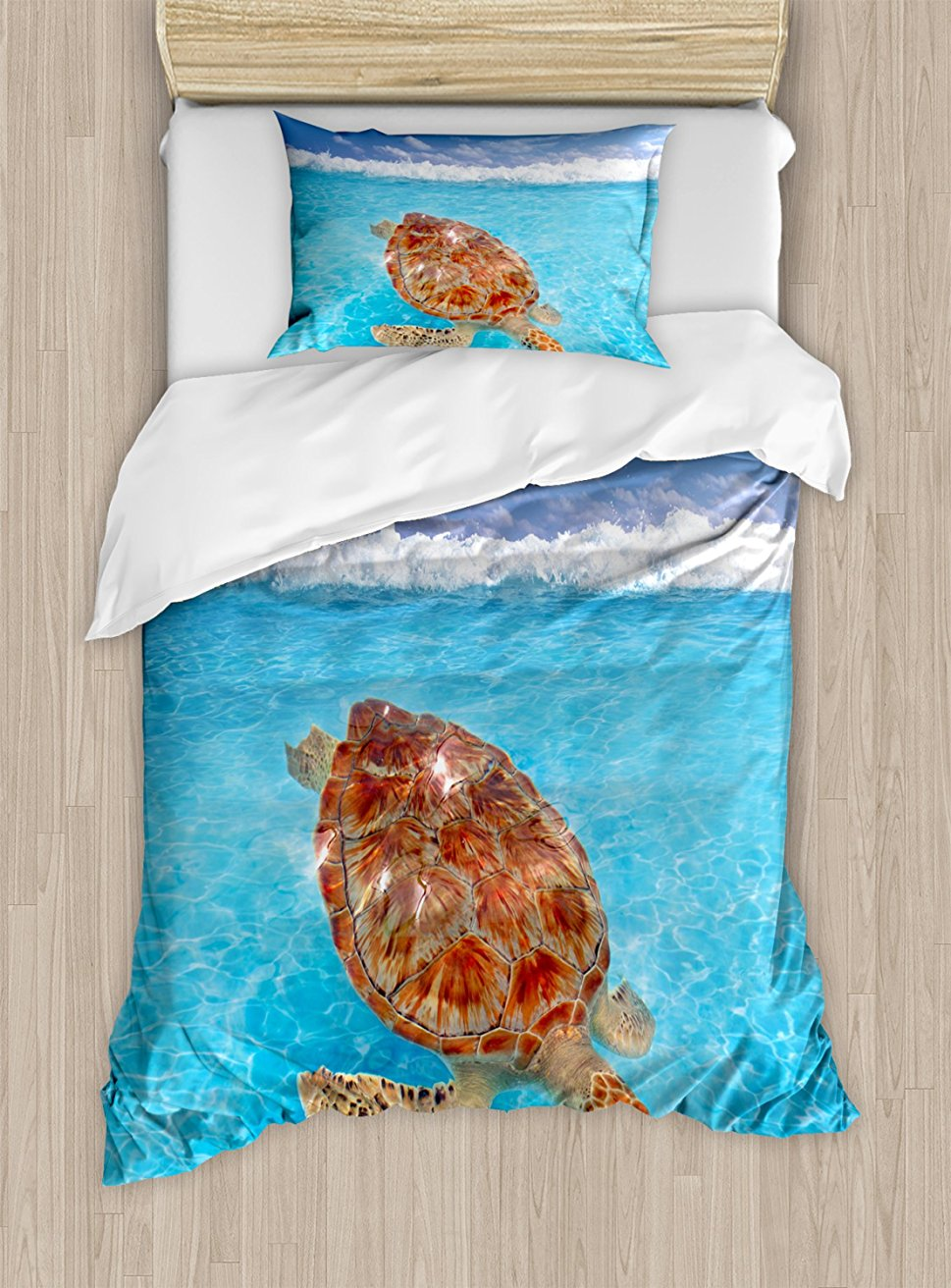 Turtle Duvet Cover Set Sea Turtle Chelonia Mydas on Water Surface Caribbean Beach Tropics Decorative 4 Piece Bedding Set