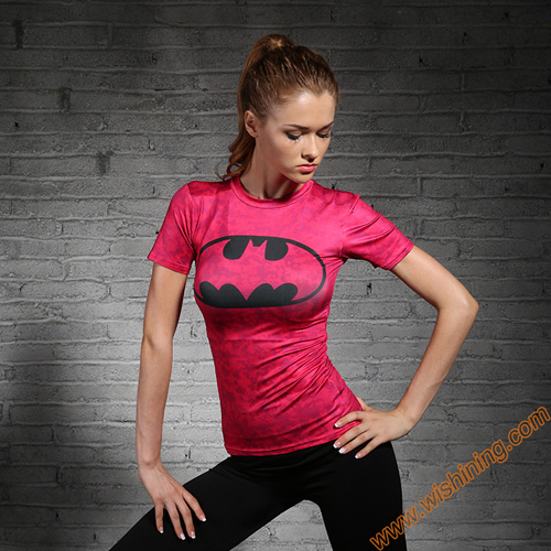 Compression Shirt Women Batman T-shirts Pink Black Superhero Bat Man Clothing Tops Female