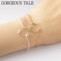 GORGEOUS TALE 2017 Gold Color Charms Bracelet Femme Stainless Steel Women Dainty Jewelry Lucky Origami Antler