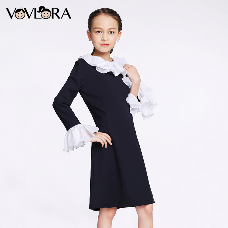 VOVLORA 2017 Girls Dresses Hot Sale Dark Blue Long Sleeve O-neck Kids Girls Autumn Dress Back to School clothes Plus Size 13 14