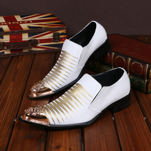 Christia Bella Neue Männer Kleid Schuhe Metall Spitz Echtem Leder Schuhe Italienische Business Schuhe Weiß Party Hochzeit Männer Schuhe