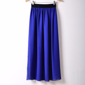 Image 1 - Free Shipping New Brand Designer Hot Sale Candy Colors High Quality Sexy Long Chiffon Skirt Pink Blue Black Red White Green C003