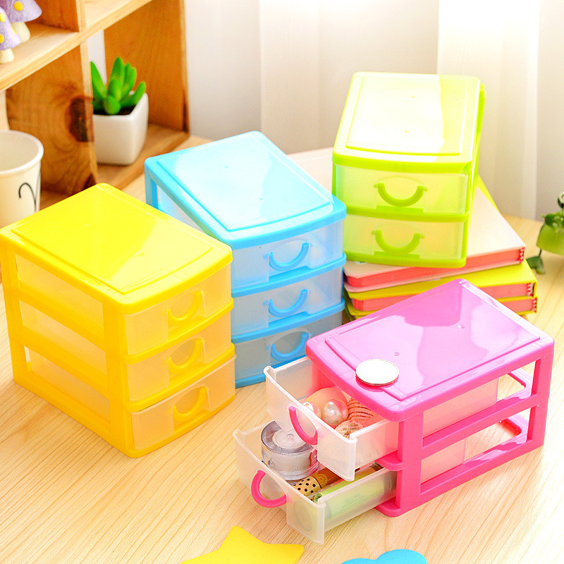 Практически подвижни DIY настолна кутия за съхранение Прозрачни пластмасови кутия за съхранение Бижута организатор шкаф за малки обекти
