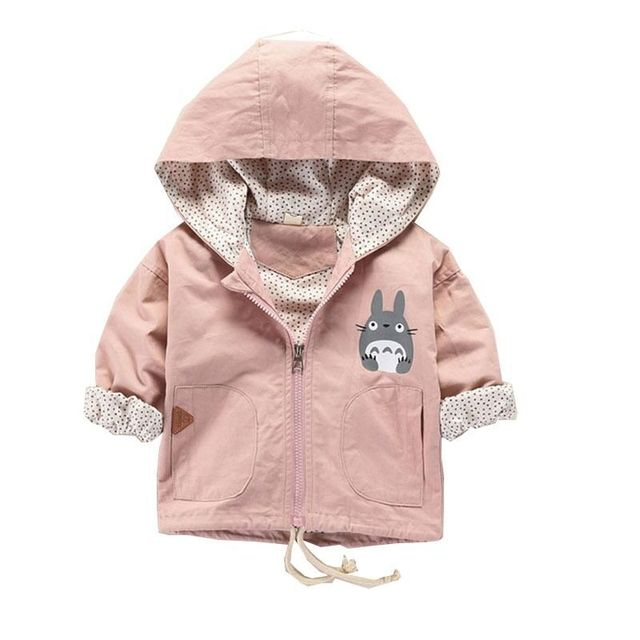 fashion baby boy clothes Totoro cartoon jacket spring pink Hooded coat Children sport clothes Christmas Toddler kids clothing