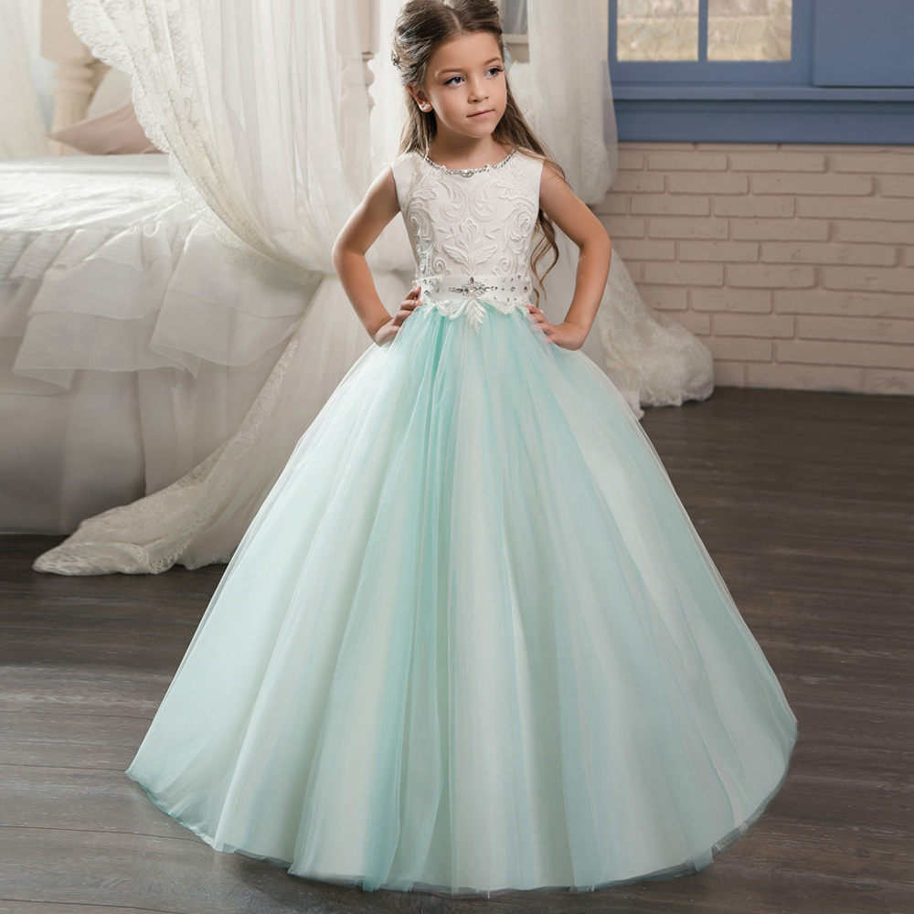 New Flower Girl Dresses Lace Crystal Sleeveless Ball Gowns Lace Up Sparkly Dresses for Girls Holy First Communion Gowns Vestidos new sleeveless lace girls dress first communion dresses o neck with bow sash flower girl dresses ball gowns custom made vestidos