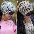 Новые Моды Корейских Женщин Леди Шапочка Шарф Шляпа Череп Шапка Ленты Для Волос 4 Цветов