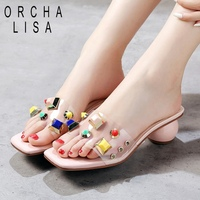 ORCHA LISA 2019 Cute ladies women summer slippers diamonds low round heels open toe pink white party dress shoes flip flops