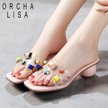 ORCHA LISA 2019 Cute ladies women summer slippers diamonds low round heels open toe pink white party dress shoes flip flops(China)
