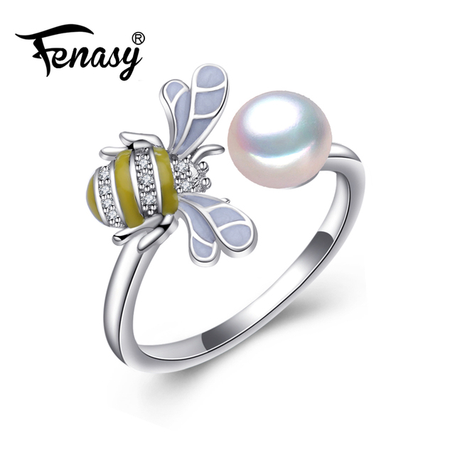 FENASY female ringPearl Adjustable Animal Rings White Pearl Solid 925 Sterling S