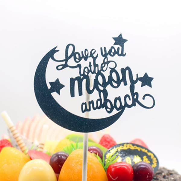 Love You To The Moon And Back Birthday Cake Topper Flags Glitter Gold Silver For Wedding Birthday Party Cake Baking Decor Flags