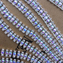 1-5Yards Clear Rhinestone Chain Trims Silver Crystal Trimming DIY Handmade Accessories Craft Sewing Art Decoration