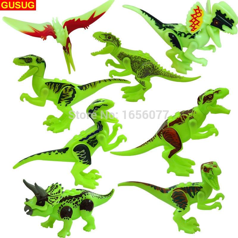 GUSUG 80pcs World Park night light Dinosaur Bricks Building Blocks Super Heroes baby toys