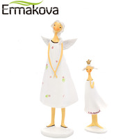 ERMAKOVA 2 Sztuk/zestaw Matka i Córka Angel Angel Statue Figurka Statua Rzeźby Wystrój Nowoczesny Salon Rzemiosło