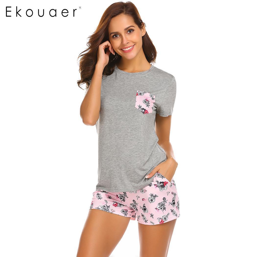 Ekouaer Pajama Set Women Short Sleeve Top Print Shorts Pajamas Set Soft Sleepwear Female Pyjama Set Summer Home Wear 3 Colors