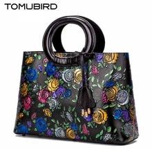 TOMUBIRD superior cowhide leather Designer Inspired Ladies Handmade Embossing rose flower Tote Handmade Leather Satchel Handbags