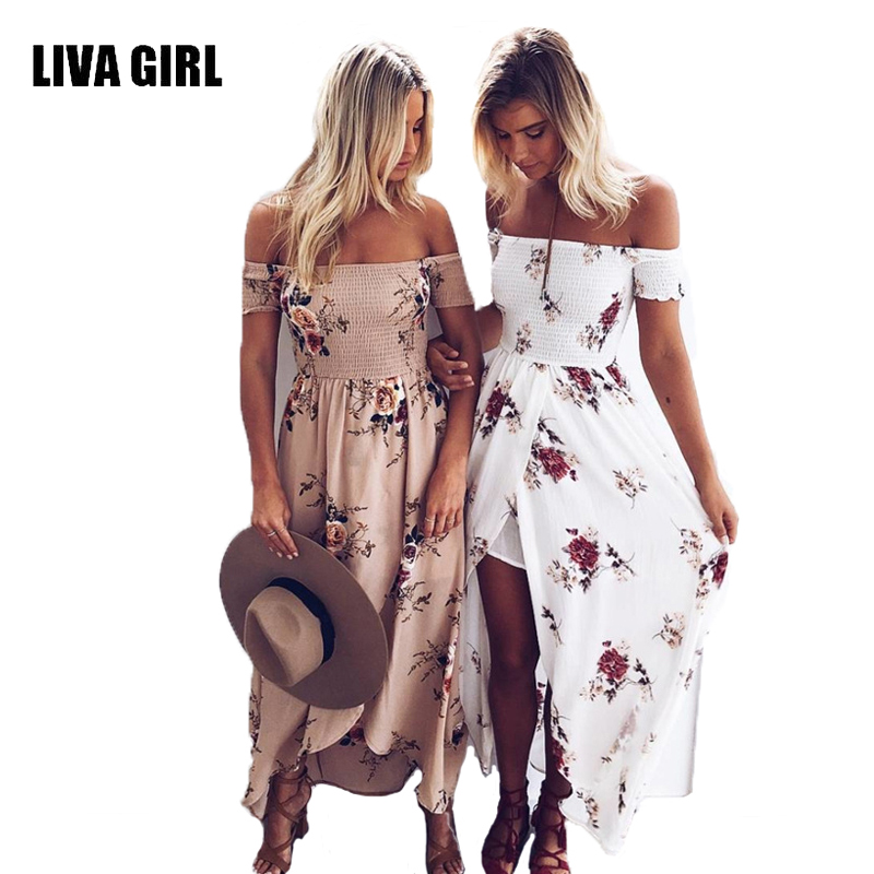 Liva girl larga dress mujeres hombro vestidos de playa de verano estampado flora