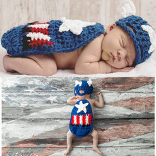 Latest Crochet Baby Hats Captain America Costume Knitted Newborn Photography Props Infant Christmas Halloween Dress Up Outfits