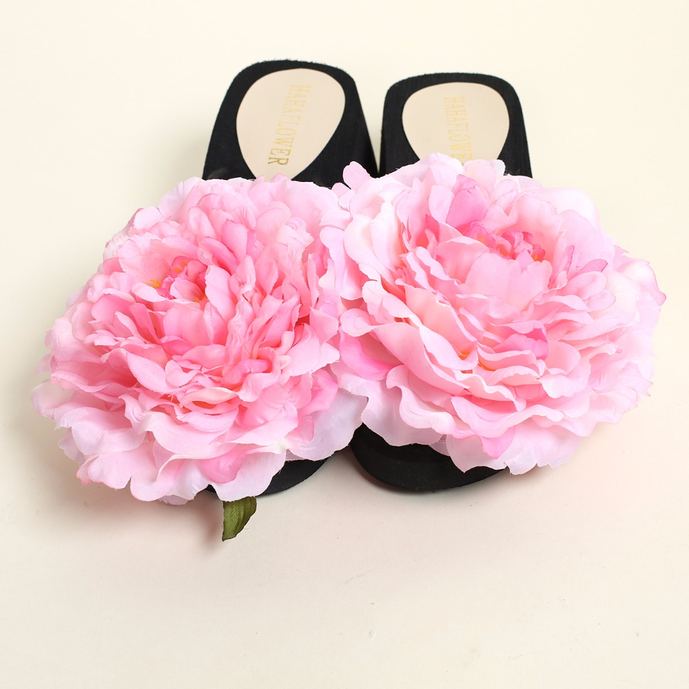 Hahaflower New Summer Peony Pink Beach Shoes Fashion Lady Slippers