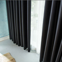 Thick Black Insulation Full Blackout Curtains Shade Cloth Finished Specials Custom Blackout Window Curtain Tulle Blinds