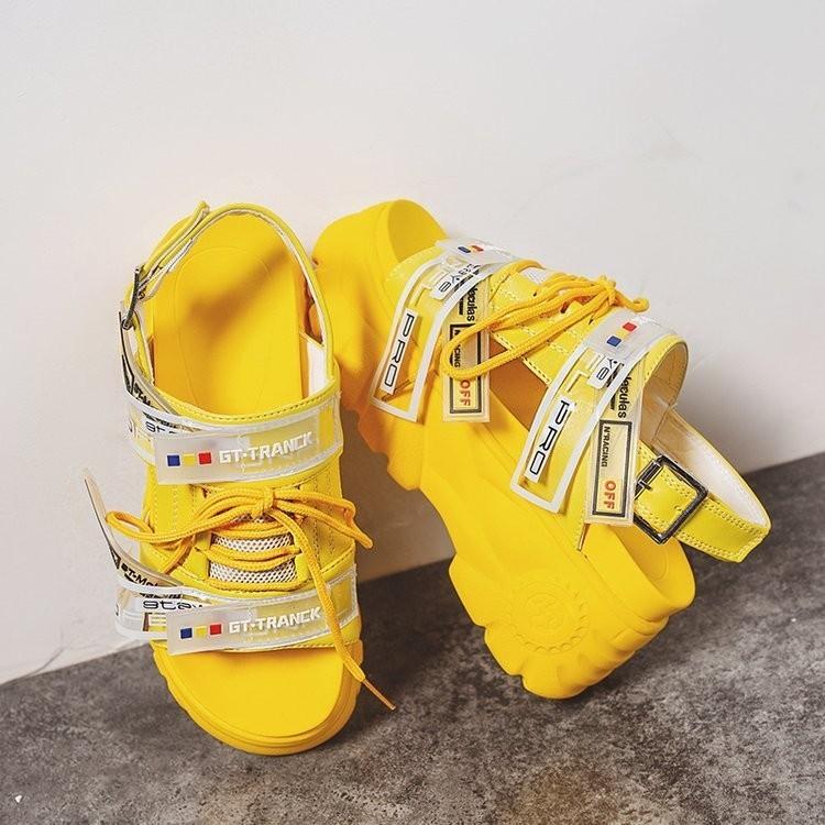 HTB15hDpXbr1gK0jSZR0q6zP8XXa6 2019 Summer Chunky Sandals Women 8cm Wedge High Heels Shoes Female Buckle Platform Leather Casual Summer Slippers Woman Sandal