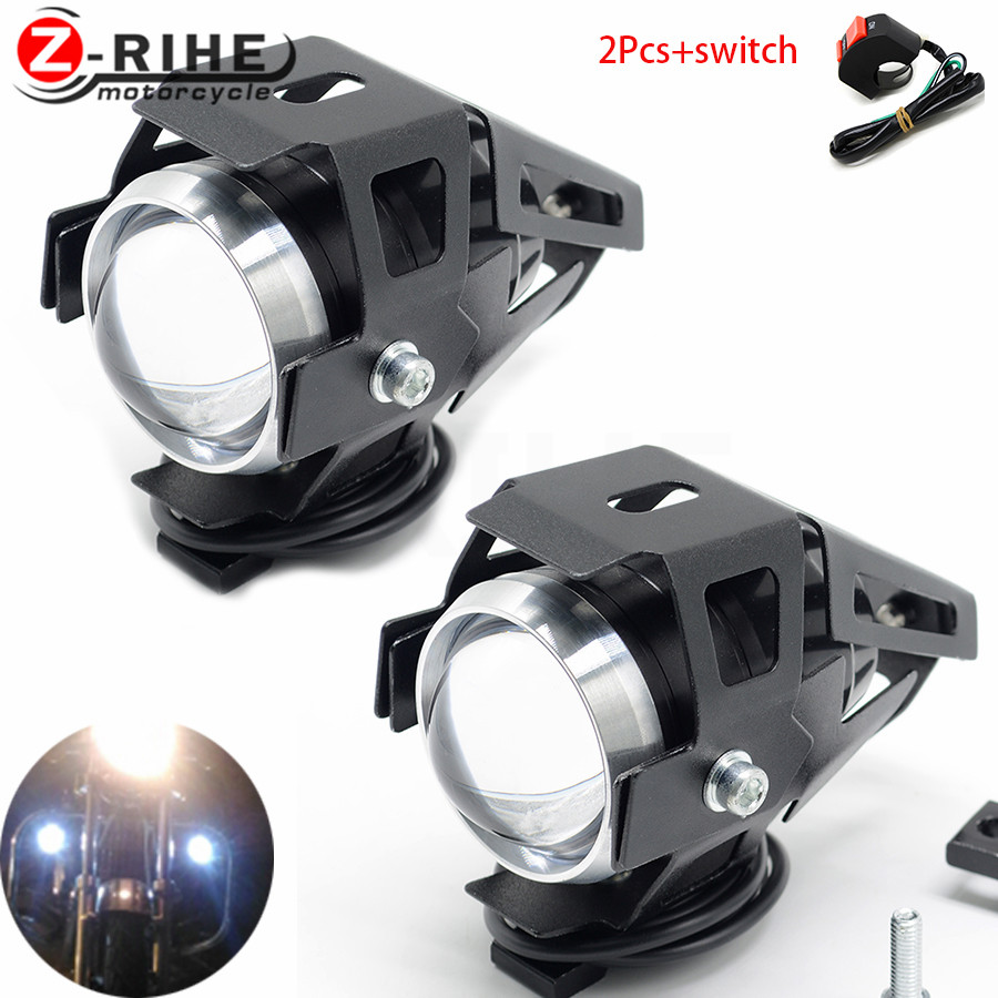 For Motorcycle LED Headlight Fog Light 125W 3000LM U5 Waterproof Driving Spot Head Lamp Switch Moto Accessories 12V 6000K