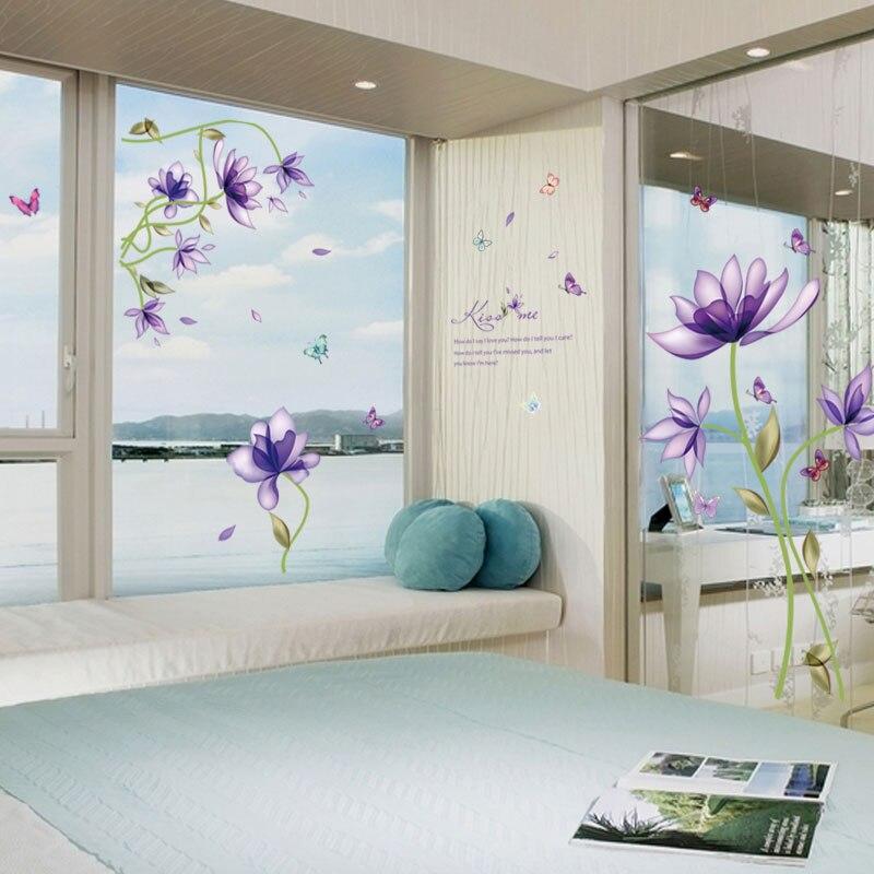 [La Fundecor] moderno estilo pruple flores pegatinas de pared decoración para el