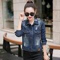 2017 Весной и Осенью женщин отложным Воротником Заклепки карманы с длинным рукавом Короткий Стиль джинсовой темно-синий черный женская куртка Пальто