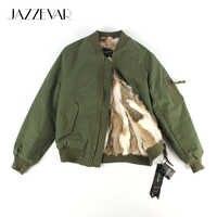 JAZZEVAR2019 nueva chaqueta de bombardero de calle de moda de otoño e invierno chaqueta básica con cremallera para mujer ropa de abrigo de algodón de buena calidad 86220