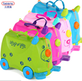 Children Travel Box Bag On Wheels & Ride On Bike Roll Multi Function Blue Pink Red Green 18L PP ABS Plastic Outdoor Cartoon Pig