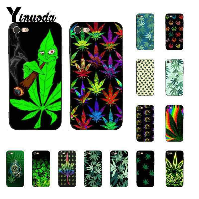 Yinuoda 흡연 녹색 잎 DIY Painted Phone Case for iPhone 6S 6plus 7 7plus 8 8Plus X Xs MAX 5 5S XR 11 11pro 11promax