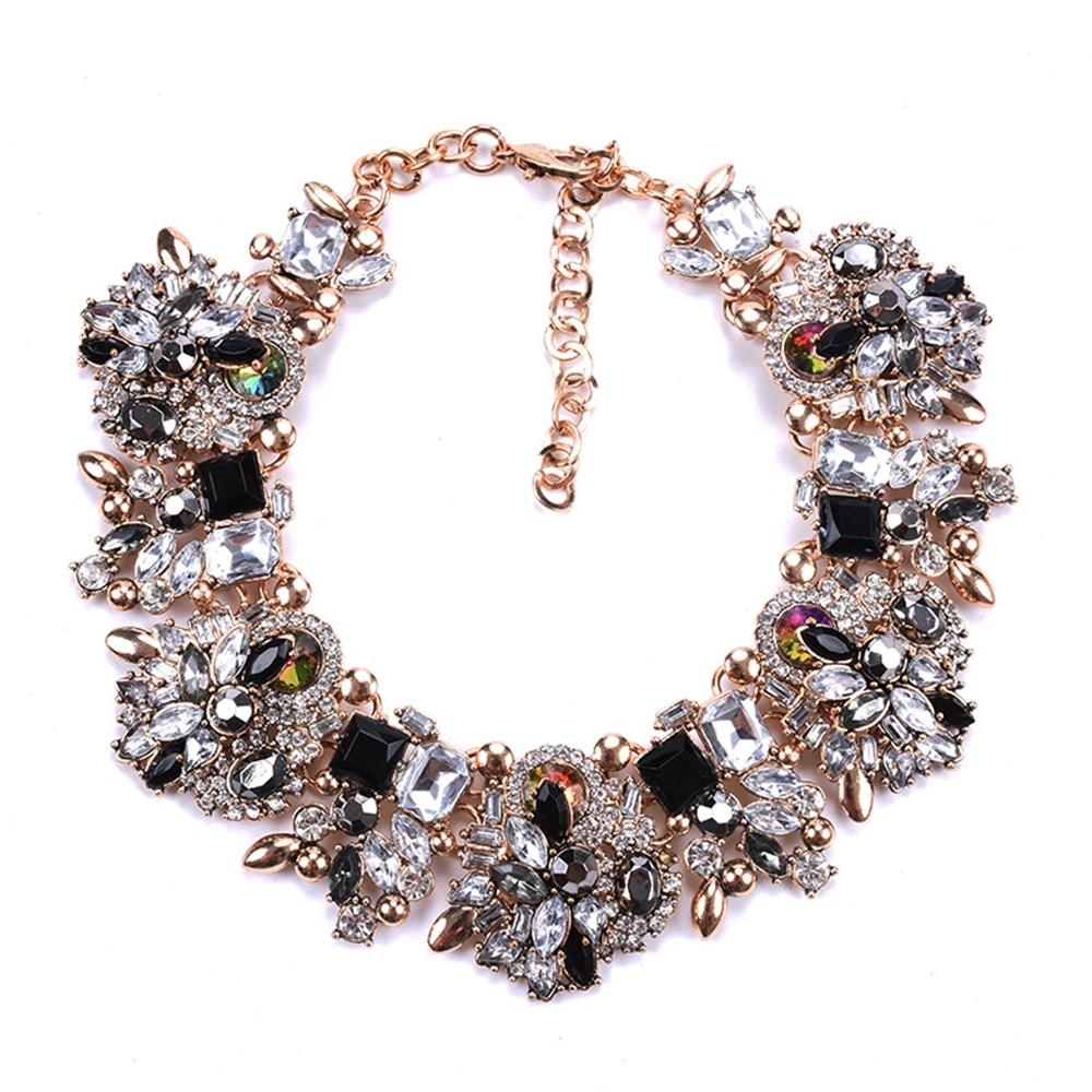 Fatpig breloque strass fleurs colliers femmes mode cristal bijoux tour de cou déclaration bavoir collier 2018