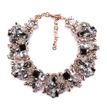 Fatpig Charm Rhinestone Flowers Necklaces Women Fashion Crystal Jewelry Choker Statement Bib Collar Necklace 2018
