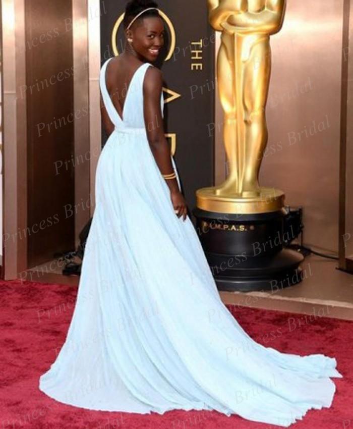 Free-Shipping-A-Line-Deep-V-Neck-V-Back-Lupita-Nyong-o-Light-Blue-Celebrity-Dress (1)