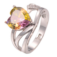 hotsell Rainbow Crystal Zircon925 Sterling silver Ring Fashion party ring wedding ring Size 6 7 8 9 10 11 F1277