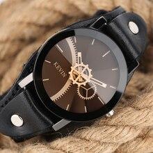 b6c0d035e88a Moda completo negro Kevin reloj hombres Relojes de cuarzo creativo  Engranajes correa de cuero pulsera deportivo