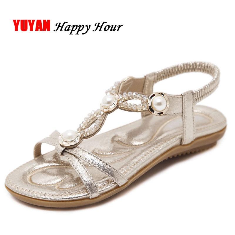 Dames Sandales Chaussures 42 Marque Taille Bohème D'été Zh2875 La Femmes Noir De Plus or bleu Plat Perle YFxKgq