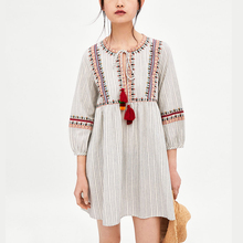 OYK8337 Women za floral females pinstriped dresses printed embroideried mujeres dress vestito tassels Women Clothing vestidos